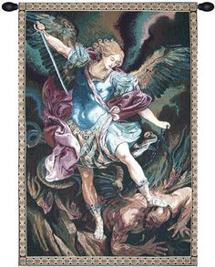 Woven in Italy History: St. Michael is an Italian jacquard wall tapestry. The artwork is inspired by S. Michael Archangel completed in 1635 by Guido Reni and di