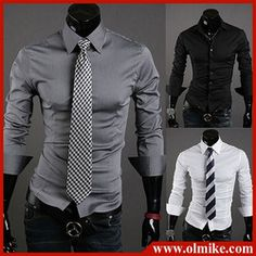 mobile site-Free shipping Fashion mens stylish clothes long sleeve shirt Men's dress shirt casual shirts for men formal wear M L XL XXL C070