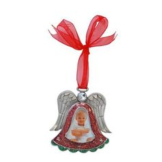 Angel With Red Ribbon Pewter Picture Frame