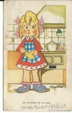 POSTAL ANTIGUA DE LA COCINERA -EDIC. MONFORT (Postales - Niños) Cordon Bleu, Comics, Art, Vintage Postcards, Art Background, Kunst, Cartoons, Performing Arts, Comic