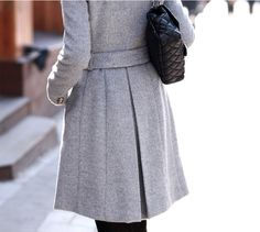 High Quality Side Button Down Belted Wool Coat - Grey on Luulla