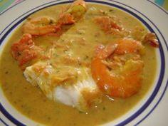 Dos de cabillaud au curry, crevettes et lait de coco