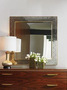 Laser cut Stainless Steel Mirror from Lexington's Take Five collection.  #MidcenturyModern #StatementPiece
