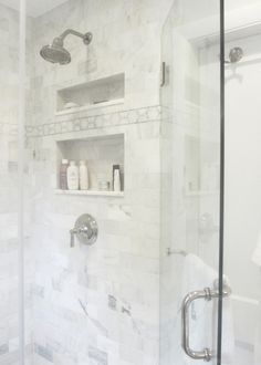 Seventy Five Arlington - bathrooms - white marble subway tiles, shower surround, white marble shower, white marble shower surround, mosaic m. Shower Niche, Master Shower, Master Bathroom, White Mosaic Tiles, Marble Subway Tiles, Marble Mosaic, Marble Floor, Cozy Bathroom, Narrow Bathroom