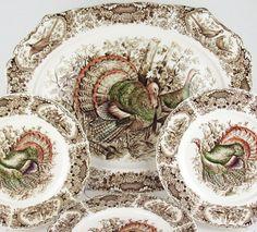 "Vintage Johnson Bros Wild Turkey Pattern. Shown is a 20.5"" platter and dinner plates."