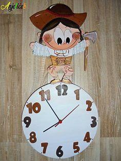 anjelicek / Hodiny - Jánošik Clock, Wall, Home Decor, Watch, Decoration Home, Room Decor, Clocks, Walls, Home Interior Design