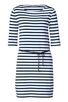White/Navy Striped Jersey Dress with Leather Belt, by Juicy Couture