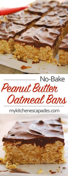No bake peanut butter oatmeal bars are so simple to make. Loaded with oats, peanut butter and topped with melted chocolate. The easy recipe is the best.