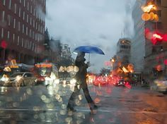 See a photo of a woman walking down a rainy city street in Washington, D., from National Geographic. Wind And Rain, No Rain, National Geographic Fotos, Rainy Street, Rainy City, Blue Umbrella, Under The Rain, Walking In The Rain, City Lights