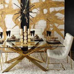 #StyleTip: High contrast adds energy to your home. Achieve the look with bold lines in our Estella Dining Table + sharp colors like black & gold accents. 15% off the Estella and all regular price items through 9/6 on zgallerie.com!