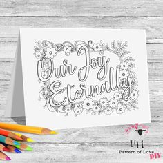 Our Joy Eternally Coloring Printable Note Cards | Etsy Jw Gifts, Home Printers, Letter Size, Marketing And Advertising, Note Cards, Card Stock, Coloring, Printables, Notes