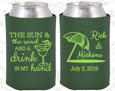 Wedding Can Coolers Beach Wedding Favors Wedding Umbrella 298 Tropical Wedding Favors The Sun and The Sand and a Drink in my Hand