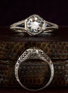 1920s Art Deco Hexagonal Filigree Engagement Ring, 0.95ct Old European Cut Diamond (in the online shop)