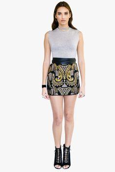 Black/Gold Embelished Mini Skirt