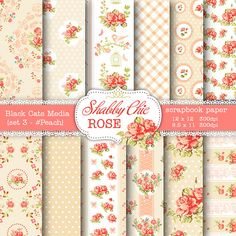 Shabby Chic Digital paper 12 x 12 in AND 8.5x11 in -Shabby chic rose for scrapbooking, invites, cards, peach and cream  – seamless pattern