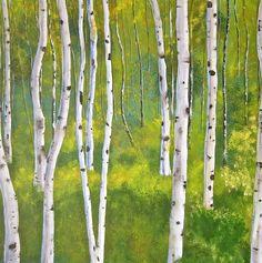 Aspen forest Painting  - Aspen forest Fine Art Print