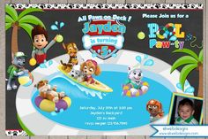 Paw Patrol Pool Party Birthday Invitation - with or without a photo