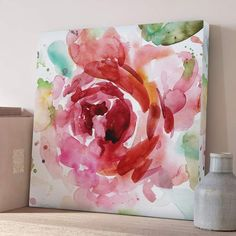 Winston Porter 'Bold Blush III' Oil Painting Print on Wrapped Canvas Oil Painting Flowers, Oil Painting On Canvas, Painting & Drawing, Painting Prints, Watercolor Paintings, Flower Paintings, Easy Watercolor, Watercolors, Small Canvas