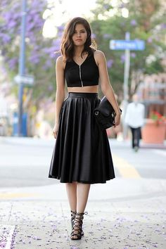 NYE Purchase Leather Midi Skirt from SheInside My NYE'14 Look! *Trend to Try: Crop Tops and Midi Skirts*
