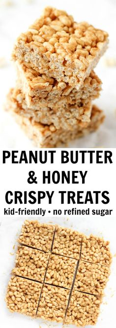 These peanut butter crispy treats have NO refined sugar and just three simple ingredients! These peanut butter crispy treats have NO refined sugar and just three simple ingredients! Peanut Butter Crispy Treats, Healthy Rice Krispie Treats, Chocolate Rice Crispy Treats, Peanut Butter Rice Crispies, Rice Krispy Treats Recipe, Healthy Peanut Butter, Healthy Food, Rice Crispy Recipe, Healthy Recipes