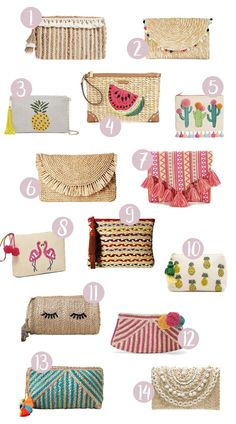 The Perfect Straw Clutches For An Amazing Summer Look - See Mama Go : [Tags] Find the perfect straw clutches to get you summer ready! Fun, bright and bold, these straw clutches are the perfect accessory for your summer look! Pochette Diy, Diy Clutch, Diy Bags Purses, Embroidery Bags, Diy Handbag, Bag Patterns To Sew, Sewing Patterns, Jute Bags, Fabric Bags