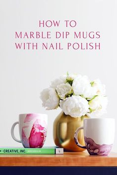 My most favorite DIY is this tutorial on how to Marble Dipped Mugs. The marbling almost looks like a watercolor. All you need is some nail polish, a mug, warm water and a tooth pick. Best part, it's an easy DIY and takes less then 5 minutes. You can marbl Diy Holiday Gifts, Homemade Christmas Gifts, Christmas Diy, Christmas Ornament, Cheap Holiday, Ornaments, Christmas Birthday, Casa Hipster, Hipster Home Decor