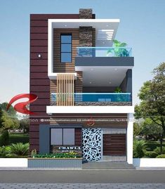 House design - Narrow House Designs Gallery RC Visualization Structural Plan and Elevation Designing Company Flat House Design, 3 Storey House Design, Modern Exterior House Designs, Narrow House Designs, Bungalow House Design, House Front Design, Modern House Design, Door Design, Minimalist House Design