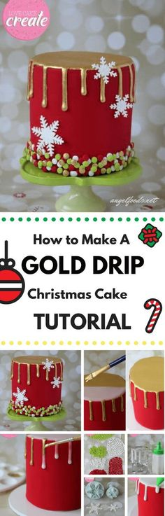How to Make A Gold Drip Christmas Cake (Tutorial) | In this gold drip Christmas cake tutorial, you'll learn how to create a beautiful Christmas themed cake with a striking gold drip, snowflakes and...