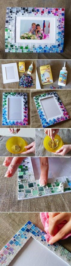 DIY Colorful Mosaic Picture Frame DIY Colorful Mosaic Picture Frame~ could do this with free paint chips cut into little pieces with glue: