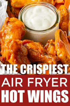 Air Fryer Hot Wings - CRISPY keto air fryer hot wings, plus an easy buffalo sauce recipe with only two ingredients! These -Crispy Air Fryer Hot Wings - CRISPY keto air fryer hot wings, plus an easy buffalo sauce recipe with only two ingredients! Air Fry Chicken Wings, Frozen Chicken Wings, Crispy Chicken Wings, Air Fryer Oven Recipes, Air Fryer Dinner Recipes, Air Fryer Recipes Wings, Keto, Air Fryer Wings, Healthy Recipes