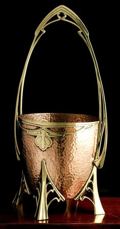 Art Nouveau Wine Champagne Cooler by the Carl Deffner workshop made in Esslingen, Germany circa 1900.