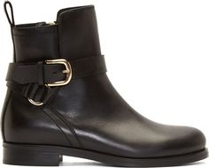 McQ Alexander McQueen Black Leather Bridal Ankle Boots
