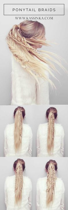 Best Hairstyles for Summer - Straight Ponytail Braids Tutorial - Easy and Cute Hair Styles for Long, Medium and Short hair - Whether you have Black or Blonde Hair, Check Out The Best Styles from 2016 and 2017 - Tutorial for Braided Updo, Cute Teen Looks, Casual and Simple Styles, Heatless and Natural Looks for the Wedding - thegoddess.com/healthy-desserts-to-try #naturalhairstylesforteens #easyhairstyleslong