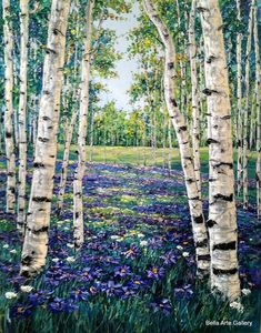 Jennifer Vranes Contemporary Aspen Forest paintings.