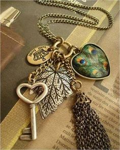 New Necklace Fashion Jewelry Women Heart Key Pendant Peacock Leaf Long Chain Fashion Jewelry Necklaces, Women Jewelry, Jewlery, Steam Punk Jewelry, Steampunk Design, Key Pendant, Victorian Jewelry, Lariat Necklace, Punk Fashion
