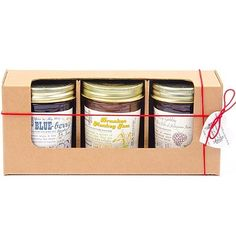 The Jam Stand's 3-Pack Box allows you to customize your gift by choosing a 3 jar assortment of jammy flavors. You may only select 1 of each flavor. Flavors include Drunken Monkey Jam, Razzy Gabby & a Side of Jalapeño Jam, You're My Boy BLUE-berry Bourbon Jam, and Not Just Peachy Sriracha Jam.