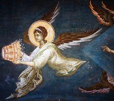 Иконография. Ангелы Religious Icons, Religious Art, Fresco, Order Of Angels, Angel Artwork, Russian Icons, Prophetic Art, Byzantine Icons, Angel Pictures