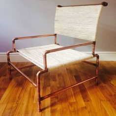 Chair - Minimal Yet Comfy Armchair Made From Copper Pipe In An Industrial Chic Style $450