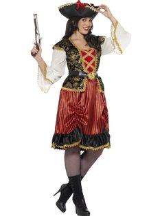 Merirosvoprinsessa. Merirosvoprinsessan kaunis naamiaisasu on yksityiskohtaisesti kuvioitu mekko, jonka viimeistelee teemaan sopiva vyö. Mustaa, kultaa, punaista ja valkeaa yhdistävä naamiaisasu on näyttävä valinta naamiaishullutteluihin!