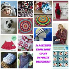 Share this:14 patterns Round Up from some of my favorite designers!! Check out my other Round ups here Pattern's Starting from top left and working to the right and repeat. 1. Crochet aviator hat 2. Flower Motif Pattern (No Sew) 3. Crochet Baby Converse 4. Cabled Diamonds Wine Bottle Cozy 5. Endangered Baby Animals & …