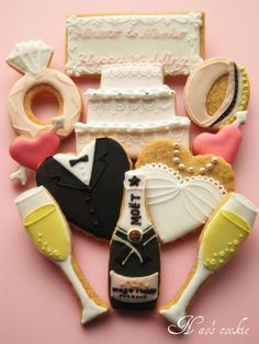 Variety of Wedding Themed Sugar Cookies With Royal Icing.