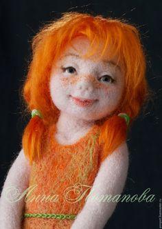 Купить Рыжик. Авторская войлочная кукла. - рыжий, девочка, веселая, девочка с корзинкой