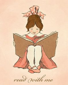 cute illustration of girl reading
