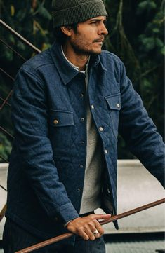 Jacket Men, Jacket Style, Leather Jacket, Taylor Stitch, Man Quilt, Men's Fashion, Fashion Outfits, Rugged Style, Cotton Blankets
