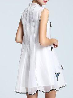 White Appliqued Girly Animal Print Stand Collar Mini Dress