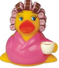 """Morning After Rubber duck measures 3 3/8"""" long X 3"""" wide X 3"""" high and provides an ample imprint area for your business or organization. For more info call 800 960-9080 or email donace@acenovelty.com"""