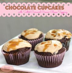 Recipe: Cheesecake Recipes / DIY Chocolate Cupcakes with Salted Caramel Cream Cheese Topping Recipe - tableFEAST Caramel Cheesecake Bites, Cheesecake Recipes, Cupcake Recipes, Dessert Recipes, Cheesecake Frosting, Caramel Frosting, Top Recipes, Desserts To Make, Bon Appetit