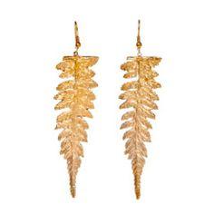 Long Redwood Fern Earrings | Alkemie Jewelry