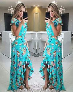Fırfırlı Elbise Yeşil Uzun Kısa Kollu Asimetrik Kesim Etek Desenli - pionero de la cosmética, alimentación, moda y confección Ruffle Dress, Dress Skirt, Dress Up, Cute Dresses, Beautiful Dresses, Summer Dresses, Mode Hippie, Yeezy Outfit, Mode Outfits