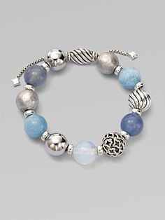 David Yurman - Blue Chalcedony, Aquamarine, Moon Quartz and Sterling Silver Bracelet